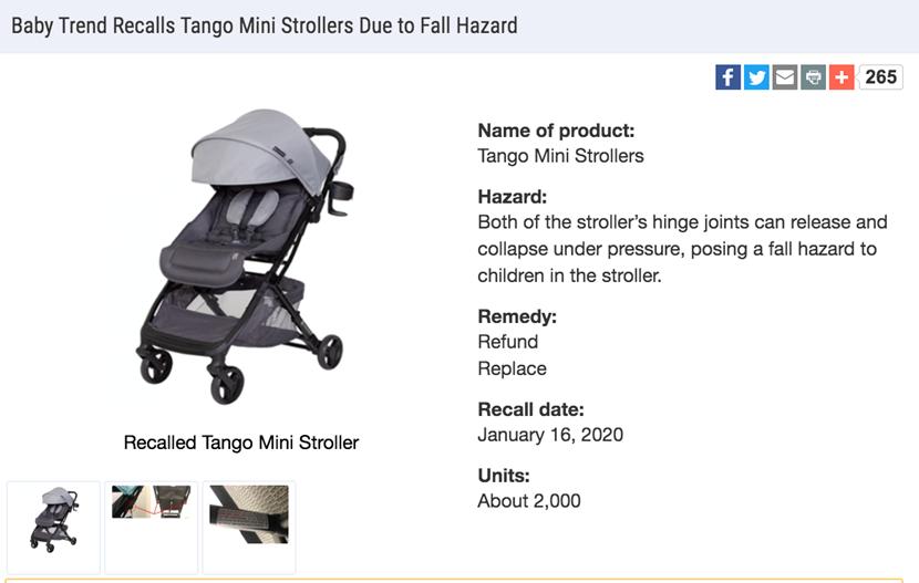 紧急召回Baby Trend Tango Mini系列婴儿推车