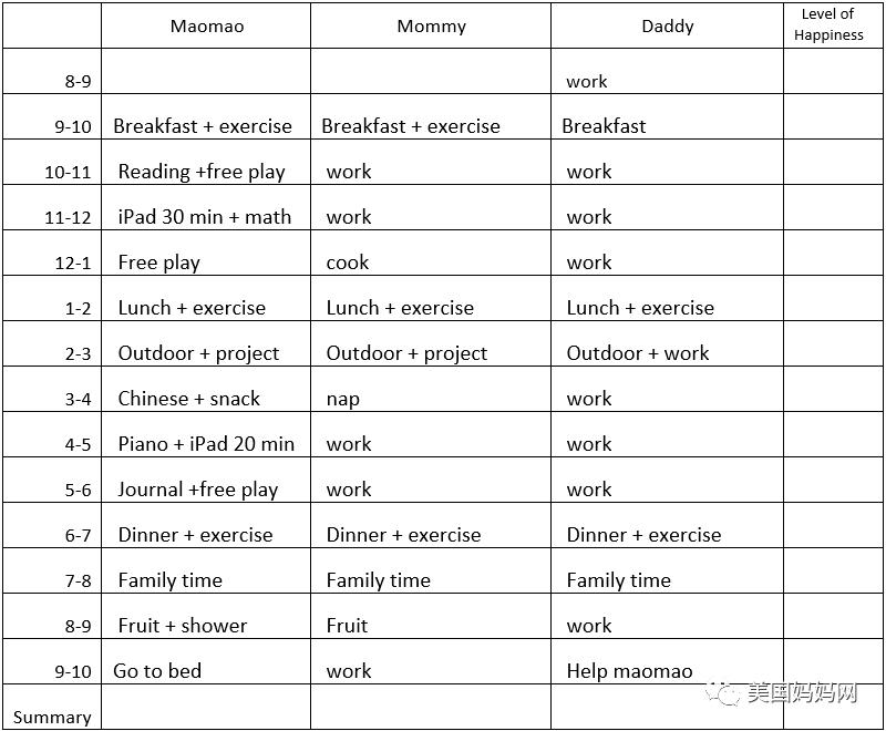 宅家计划表